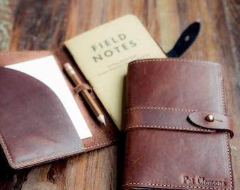 The Surveyor Personalized Fine Leather Pocket Journal Cover Field Notes or Moleskine with Pencil Journal Case Sleeve