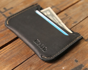 The Bradford Black Front Pocket Double Sleeve Mens Fine Leather Wallet with Rounded Corners Groomsmen Gifts for men