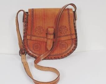 Vintage 70s Tooled Leather Saddle Bag Caramel Brown Bag Small Shoulder Bag Thick Leather Bag Genuine Leather Handmade Bag Festival Bag