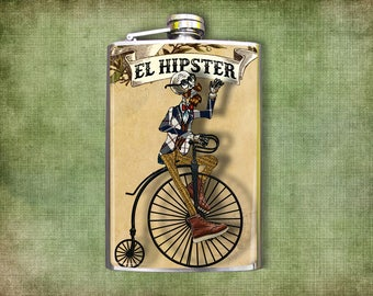 Flask El Hipster Day of the Dead Skeleton 8oz.