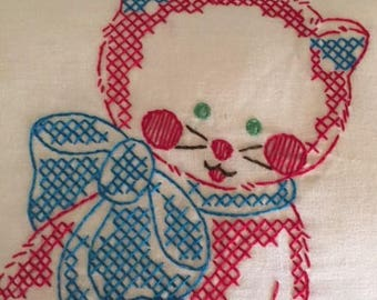 Vintage Kitten Embroidered Quilt Block Pillow