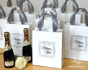 Grey Wedding Welcome Bags for guests with Silver satin ribbon and custom personalized tag Elegant Paper Bags for your Wedding Gifts & Favors