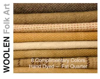 Bundle No.5;Rug Hooking Wool;Applique Wool;Penny Rug Wool;Felted Wool;Fat Quarter; 8 Color Bundle of Wool
