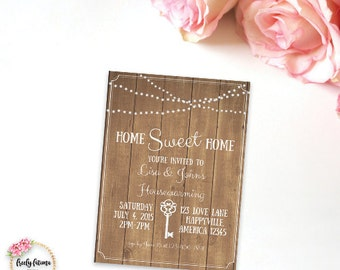 Housewarming Party Invitation Printable Custom Personalized Wood Lights Rustic
