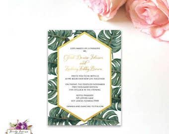 Tropical Banana Leaves Watercolor Wedding Invitation - Gold Invitation - Destination Wedding - Digital Invitation - Printable Invitation