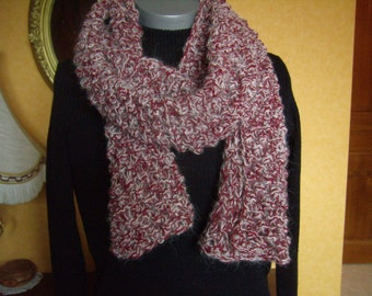 Beautiful scarf / stole/shawl made knit, cream, purple, soft and warm, cowl, scarf, infinity, handmade