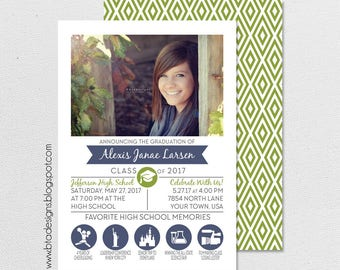 High School or College Year in Review Graduation Announcement or Graduation Invitation 5, Customized, Digital File