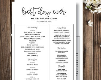 Printed Infographic Wedding Programs Fun