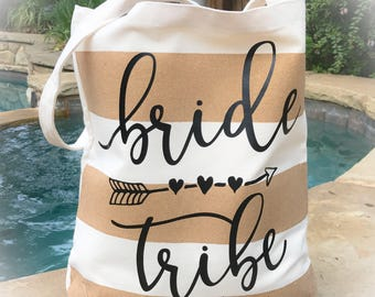 Bridesmaid Canvas Tote Bag - Bride Tribe Tote Bag - Personalized Canvas Tote Bag - Striped Canvas Tote Bag -Personalized Graduation Tote Bag