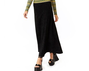 After Party Black Suede Spandex Long Maxi Skirt