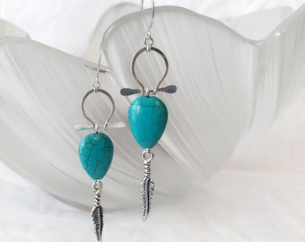 Sterling silver turquoise beads dangling earrings handmade with hammered sterling silver wire