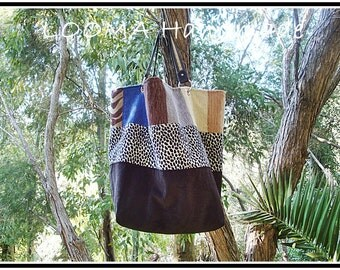 Large bag with bottom striped velvet Brown, speckled and white fabric and upholstery fabric. Cabas sac. Large Tote bag.