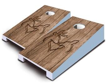 Deer Heart Tabletop Cornhole Board Set.