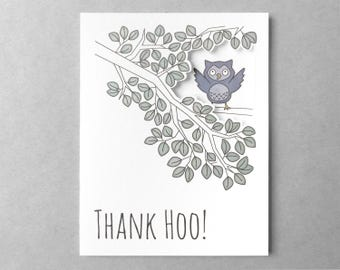 Thank you | Pun card | Funny thank you card | Best friend thank you | Cute owl | Dad card | Pun card