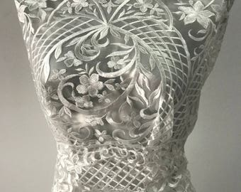 Off White Ivory bridal lace fabric embroidered tulle Baroque design bridal latest fashion trend in bridal lace