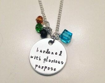 Burdened with Glorious Purpose Loki Marvel Tom Hiddleston Thor Avengers Charm Necklace