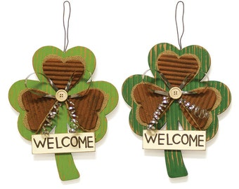 Hanging Wood Shamrock's-Set of 2/Saint Patrick's Day Welcome Sign/Wreath Supplies/9729782
