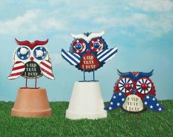 "8"" Patriotic Owl- Set of 3/Wreath Supplies/Patriotic Decor/Fourth of July Decor/95629"