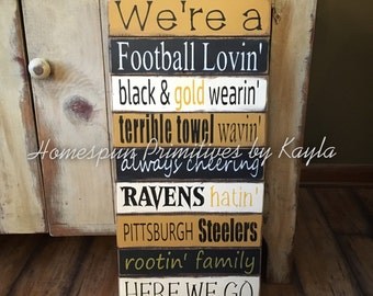 Pittsburgh Steelers Rootin' Family Sign