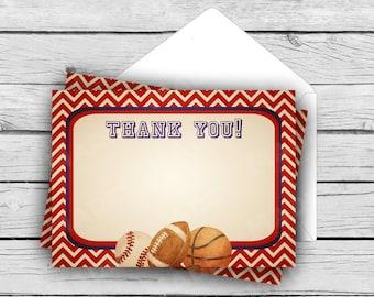 THANK YOU Note Card Set - Vintage Sports, Stationery, Printed Stationery, Thank You Cards, Baby Shower, Birthday, Baseball, Basketball