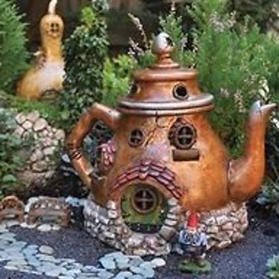 Gnome Garden: Teapot Fairy House Cottage Abode Miniature Garden Fairy Gnome
