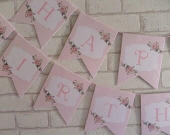 Shabby Chic Rose Happy Birthday Bunting Banner Garland ,Birthday,Party,Polka Dot
