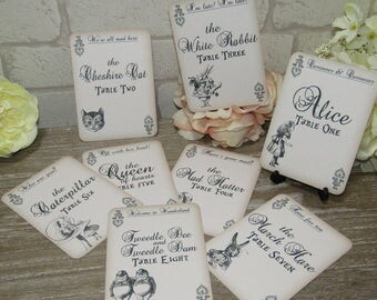 Alice in Wonderland Character Name Table Numbers 1-8  Wedding,Tea Party