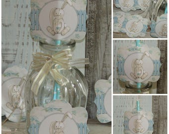 12 Blue Bunny Rabbit Straw Pen/ Cake Toppers Tea Party,Decoration,Birthday,Baby Shower,It's a Boy,Christening