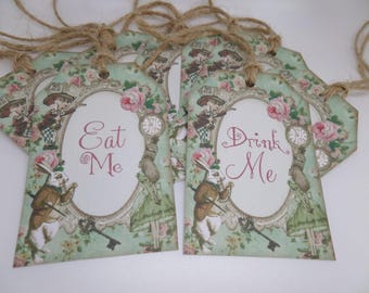 8 Alice in Wonderland Eat Me Drink Me Floral Gift Tags Toppers,Favors,Wedding.Tea Parties,Baby Shower,Bridal Shower,Birthday,Gifts