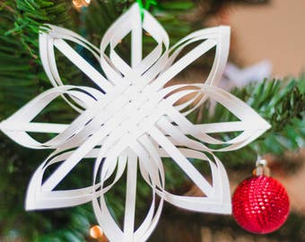 Finnish Star Ornament, Woven Paper Ornament, Star Ornament, Christmas Ornament