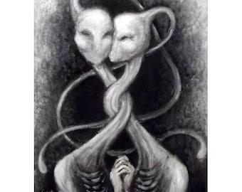 GOOD FRIENDS 11x14 original acrylic painting fantasy couple surreal lowbrow art pop surrealism OOAK