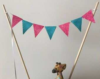 Birthday Cake Topper / Bunting / Fabric Pennant Flags / Baby Shower / Pink Swirl with Aqua Blue Polka Dot / Party / Double sided