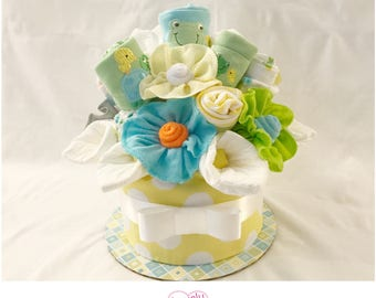 Gender Neutral Baby Gift Basket Bou-Cake /Baby Shower Centerpiece - Frogs, Turtles and Ducks