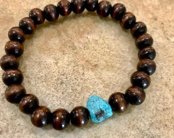 Wood Bead Bracelet in Brown & Turquoise, Boho Beaded Jewelry, Turquoise Bracelet, Turquoise Jewelry, Casual Jewelry, Bohemian Style Jewelry