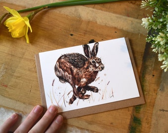Hare 'on the run' greeting card