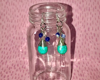 Turquoise and Denim Earrings