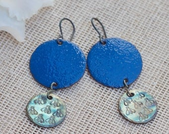 Enamel earrings, Enamel jewelry, Blue earrings, Bee earrings, Enameled copper earrings, Copper jewelry, Sterling silver ear wire, Handmade