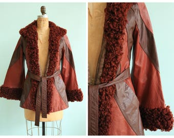 Vintage 1970's Patchwork Leather and Fur Jacket | Size Small