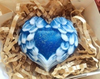 Angel wings soap, angel soap, heart soap, blue heart soap, wings soap, romantic soap, love soap, valentines soap, gift for her, glitter soap