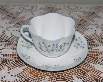 Vintage Shelley Blue Rock Bone China Teacup, Made in England Blue Floral Tea Cup