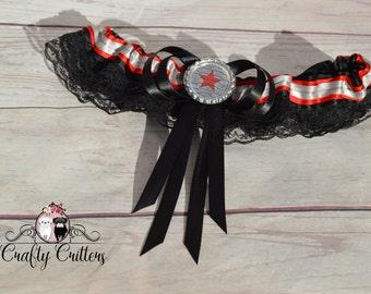 Winter Soldier Wedding Garter - Custom Garter - Traditional Garter - Bridal Garter - Satin Garter - Lace Garter - Novelty Garter