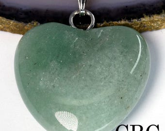 Green Aventurine Heart Pendant w/ Bail (HRT120)