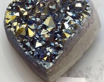 A-1540 Titanium Aura Quartz Crystal Heart 6.2 oz.