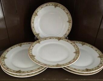 6 THEODORE HAVILAND LIMOGES, Made in France,  Vintage Bread & Butter/Dessert  Plates