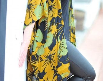 Mustard Green Floral Kimono