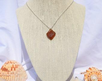 Beach Glass   Sea Glass Brown Necklace