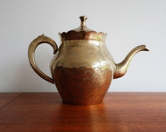 Etched Brass Tea Kettle / Tea Pot handmade in India
