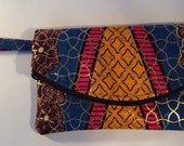 African Print Fold-over Clutch