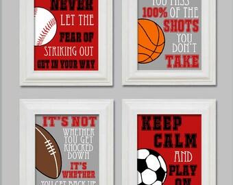 8x10 Sports Boys Bedroom Decor Sports Soccer Football Baseball Basketball