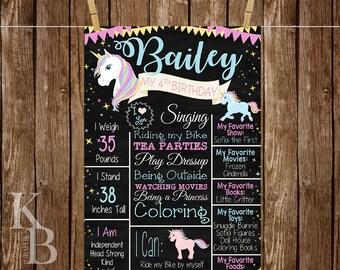 Unicorn First Birthday Poster - Unicorn 1st Birthday Poster - Unicorn Birthday Chalkboard - Unicorn Birthday Party